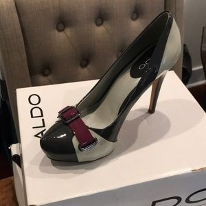 Four inch tri-color heels